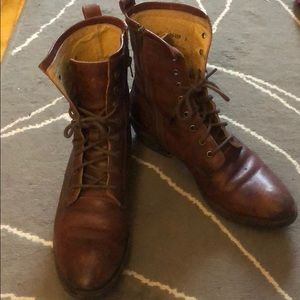 Frye lace up leather boots
